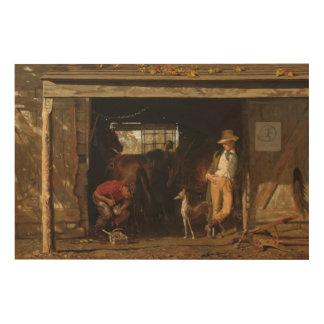 American WildWest Blacksmith and Cowboy Wood Print