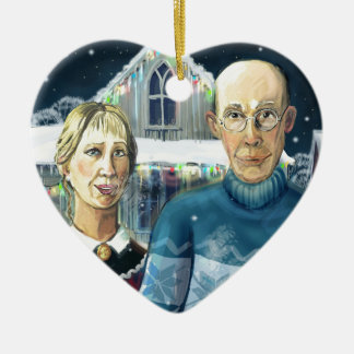 American winter - Grant Wood parody Christmas Ornament