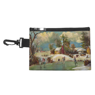 American Winter Life Christmas Scene Accessories Bag