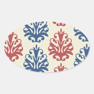 americana damask oval sticker