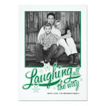 Americana Green Snowflake Holiday Photo Card Personalized Announcement