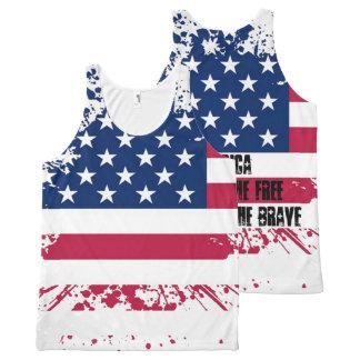 Americana Grunge Flag All Over Print Tank Top