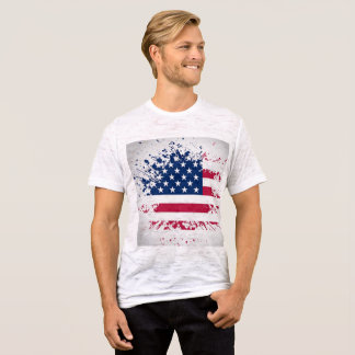 Americana Grunge Flag Burn Out T Shirt