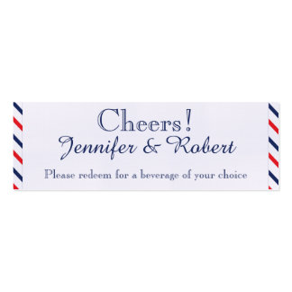 Americana Hearts Wedding Drink Tickets Pack Of Skinny Business Cards
