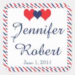 Americana Hearts Wedding Envelope Seal Square Sticker