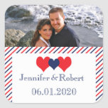 Americana Hearts Wedding Favour Sticker