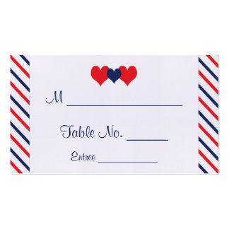 Americana Hearts Wedding Place Cards Pack Of Standard Business Cards