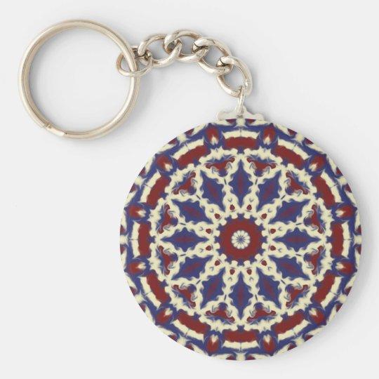 Americana Kaleidoscope Basic Round Button Key Ring