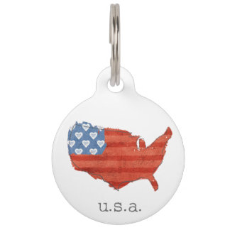 Americana | My Heart Is In The USA Map Pet ID Tag