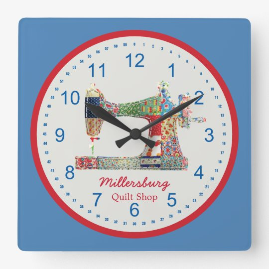 Americana Patchwork Sewing Machine Wall Clock