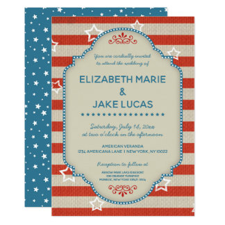 Americana Patriotic Wedding Invitation