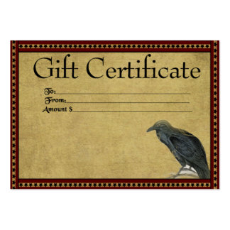 Americana Raven- Prim Gift Certificate Cards Pack Of Chubby Business Cards