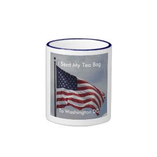AmericanFlag, I Sent My Tea Bag, To Washington DC Ringer Mug