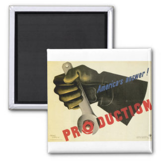America's Answer! Production Square Magnet