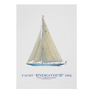 americas cup yacht 'endeavour', tony fernandes poster