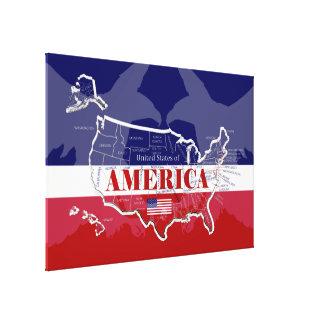 America's Named States Colours Bald Eagle P/Canvas Canvas Print