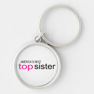 Americas Next Top Sister Silver-Colored Round Key Ring