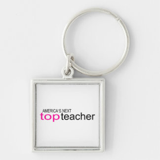 Americas Next Top Teacher Silver-Colored Square Key Ring