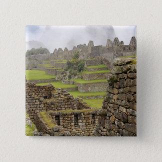 Americas, Peru, Machu PIcchu. The ancient 15 Cm Square Badge