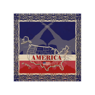 America's States Colors Bald Eagle Wood Wall Art#1 Wood Print