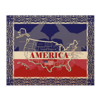 America's States Colors Bald Eagle Wood Wall Art#2 Wood Wall Art