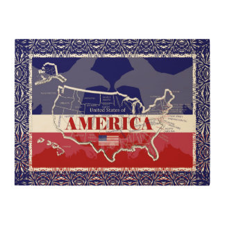America's States Colors Bald Eagle Wood Wall Art#5 Wood Print