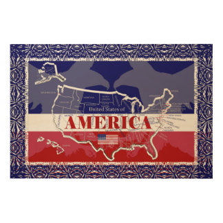 America's States Colors Bald Eagle Wood Wall Art#6 Wood Wall Art