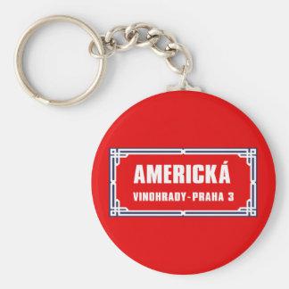 Americká, Prague, Czech Street Sign Basic Round Button Key Ring