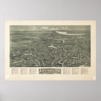 Amesbury Massachusetts 1914 Antique Panoramic Map Poster