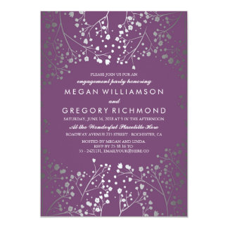 Amethyst and Silver Baby's Breath Engagement Party Card
