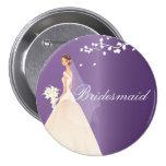 Amethyst Bride Bridesmaid Bridal Party  Button