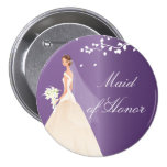 Amethyst Bride Maid of Honour Bridal Party  Button