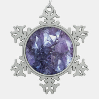 Amethyst Crystal Cluster Pewter Snowflake Decoration