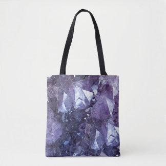Amethyst Crystal Cluster Tote Bag