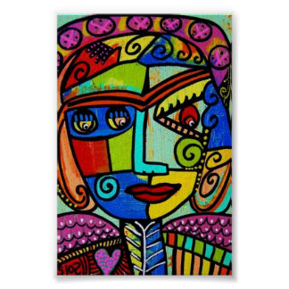 Amethyst Cubist Angel Poster