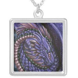 Amethyst Dragon Square Necklace
