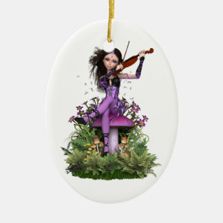 Amethyst Fairy ~ Sweet Melody Ceramic Oval Decoration