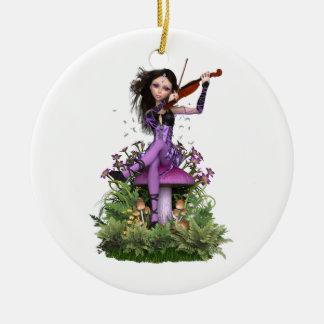Amethyst Fairy ~ Sweet Melody Round Ceramic Decoration