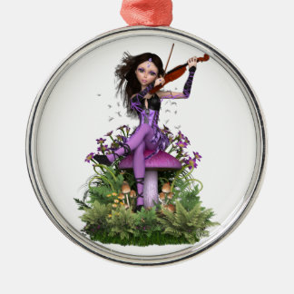 Amethyst Fairy ~ Sweet Melody Silver-Colored Round Decoration