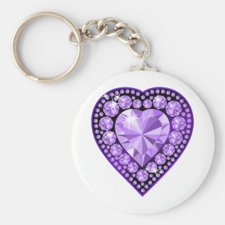 Amethyst Gem heart Keychain