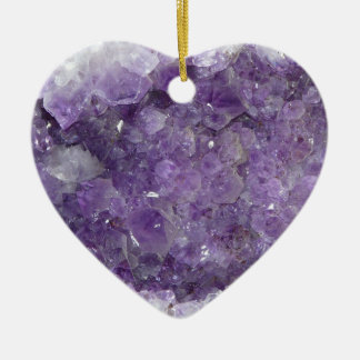 Amethyst Geode - Violet Crystal Gemstone Ceramic Heart Decoration