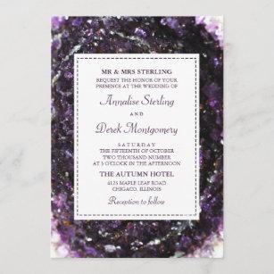 Amethyst Geode   Violet Wedding Invitation