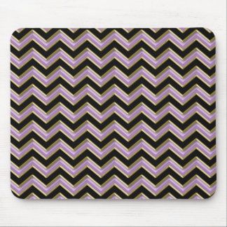 Amethyst Gold Black Zigzag Pattern Mouse Pad