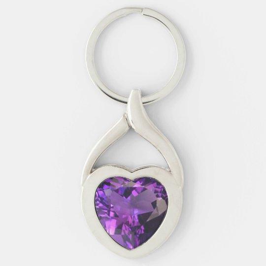 Amethyst Heart Key Ring