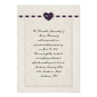 Amethyst Heart Purple Ribbon Lace Post Wedding Personalized Announcements