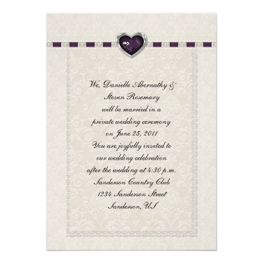 Amethyst Heart Purple Ribbon & Lace Post Wedding Personalized Announcements