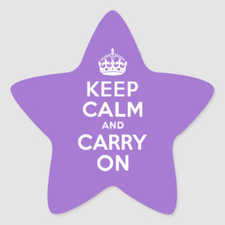 Amethyst Keep Calm and Carry On Star Sticker