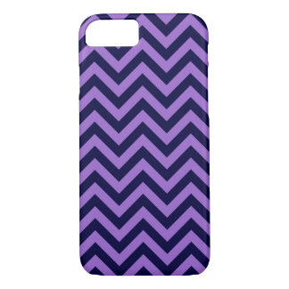 Amethyst, Navy Blue Large Chevron ZigZag Pattern iPhone 7 Case