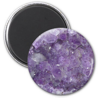 Amethyst New Age Crystal Healing Cluster Photo 6 Cm Round Magnet