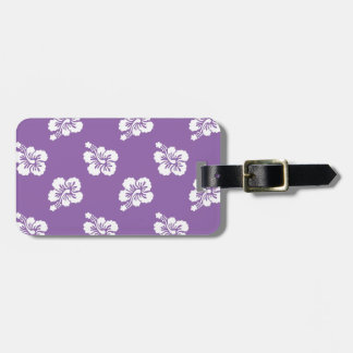 Amethyst Orchid and White Hibiscus Floral Luggage Tag